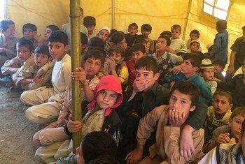 Le site de Bish-Bator en Afghanistan où vivent près de 650 familles déplacées par les conflits.