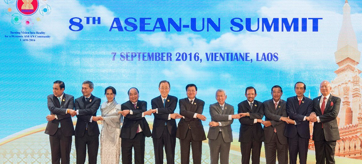 Secretary-General Ban Ki-moon (fifth from left) poses for a group photo with participants of the eighth summit between the Association of Southeast Asian Nations and the United Nations (ASEAN-UN Summit), in Vientiane, Lao People's Democratic Republic.