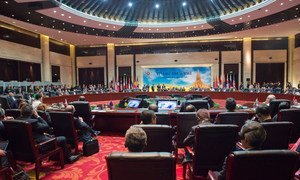 A wide view of the opening session of the 11th East Asia Summit, taking place in Vientiane, Lao People's Democratic Republic.