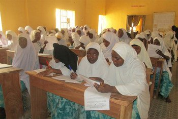 A UNESCO-Federal Government-supported literacy class in Kano, North-West Nigeria, being part of the project, 'Revitilising Adult and Youth Literacy in Nigeria'.