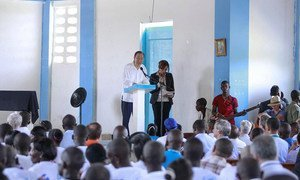 """In the rural Haitian village of Los Palmas, Secretary-General Ban Ki-moon launched the country's """"Total Sanitation Campaign"""", which aims to scale up sanitation and hygiene interventions in rural areas."""