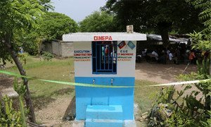 One of seven drinking water kiosks for residents of Madame Cyr, Haiti.
