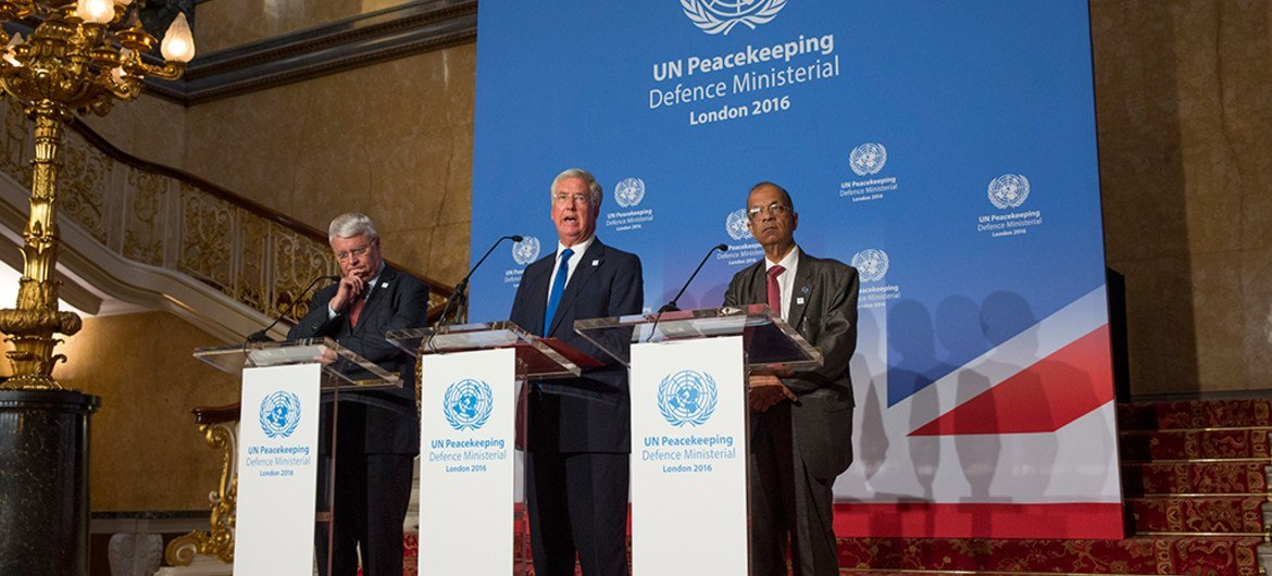 UN delegates from 80 nations gathered at Lancaster House in London for the annual UN Peacekeeping Defence Ministerial. Pictured left to right. UN Under Secretary General Herve Lasdous, Michael Fallon UK Secretary of State for Defence and Atul Khare UN Under Secretary General.