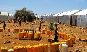 In this file photo, plastic jerrycans wait to be filled at an IDP camp in Baidoa, some 200 kilometres west of capital Mogadishu. The region has been affected by recurrent natural disasters as well as violence by armed groups.