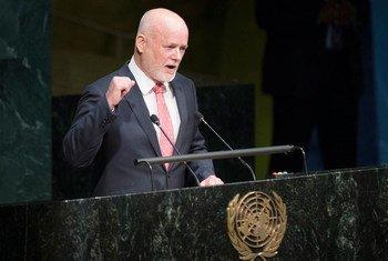 71届联大主席汤姆森在新一届联大会议上。联合国图片/Manuel Elias
