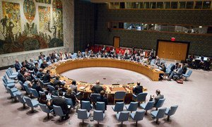 A wide view of the Security Council as Martin Kobler, Special Representative of the Secretary-General and Head of the UN Support Mission in Libya (UNSMIL), briefs the Council on the situation in Libya.