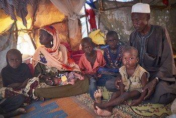 一个由于博科圣地组织的暴力而流亡尼日尔的尼日利亚难民家庭。儿基会照片/ Sam Phelps