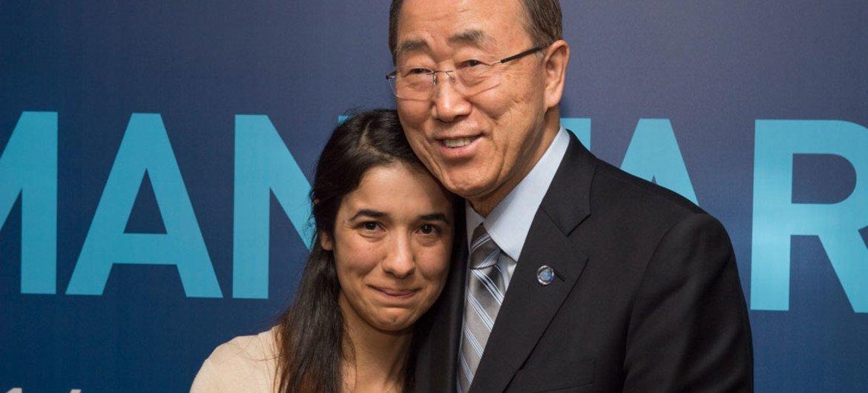Nadia Murad Basee Taha y Ban Ki-moon. Foto de archivo: ONU/Eskinder Debebe