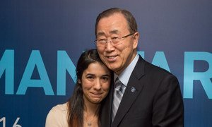 Secretary-General Ban Ki-moon (right) meets with Nadia Murad Basee Taha, a young Iraqi woman of the Yazidi faith, human rights activist and survivor of abduction and torture by the terrorist group Islamic State, on the margins of the World Humanitarian Summit in Istanbul. 24 May 2016.
