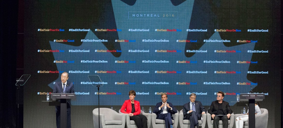 Secretary-General Ban Ki-moon (left) addresses the opening of the Fifth Replenishment Conference of the Global Fund to Fight Aids, Tuberculosis and Malaria, in Montreal, Canada.