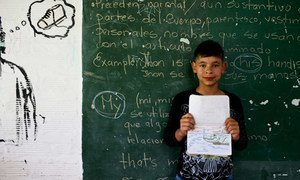 Sebastian, 8, participates in a special program for students with discipline problems and troubled home lives located in La Ceja, Antioquía, Colombia.