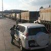 Camions d'un convoi d'aide humanitaire attendant d'entrer en Syrie le 19 septembre 2016. (archive)