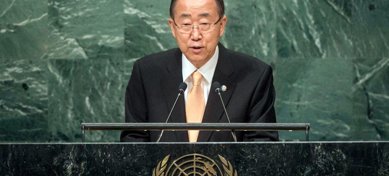 Le Secrétaire général Ban Ki-moon à l'ouverture du débat général de la 71ème session de l'Assemblée générale. Photo ONU/Cia Pak