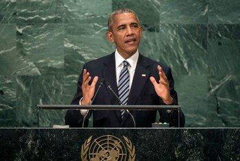 Президент США Барак Обама выступает на 71-й сессии Генеральной Ассамблеи. Фото ООН/Киа Пак