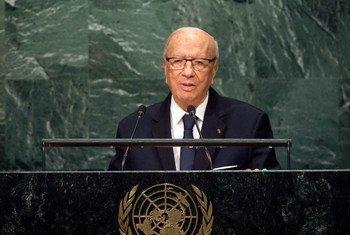 الرئيس التونسي الراحل الباجي قائد السبسي في المناقشة العامة للدورة الحادية والسبعين للجمعية العامة.