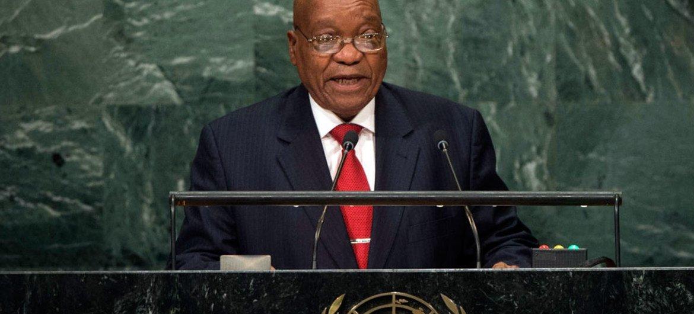 Le Président de l'Afrique du Sud, Jacob Zuma, s'exprimant lors du débat général de la 71ème session de l'Assemblée générale de l'ONU. Photo ONU/Manuel Elias