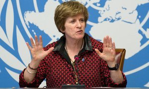 Kate Gilmore, Deputy UN High Commissioner for Human Rights, briefing journalists.