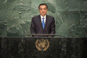 中国总理李克强在联大一般性辩论中发言。联合国图片/Cia Pak