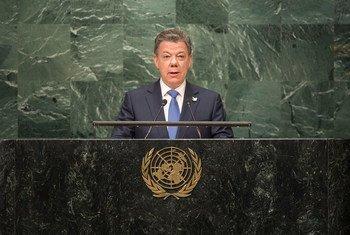 El presidente de Colombia, Juan Manuel Santos, este miércoles, en su discurso ante la Asamblea General. Foto: ONU/Cia Pak
