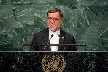 Le Second Vice Président de l'Afghanistan, Sarwar Danesh, devant l'Assemblée générale des Nations Unies. Photo ONU/Cia Pak