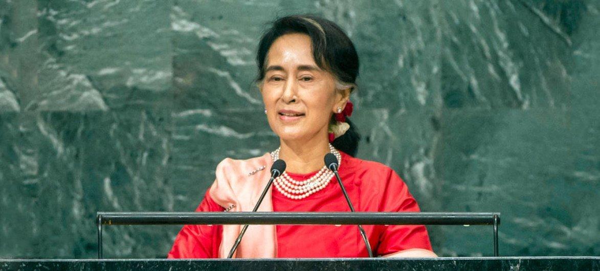 缅甸新政府国务资政昂山素季在联大一般性辩论中发言。联合国图片/Cia Pak