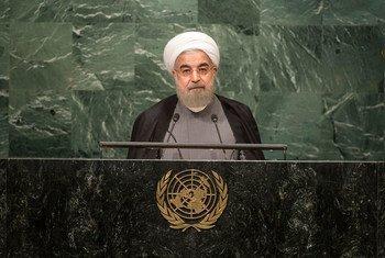Президент Ирана Хассан Роухани выступает на 71-й сессии Генеральной Ассамблеи. Фото ООН/Сиа Пак