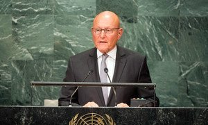 Le Premier ministre du Liban, Tammam Salam, devant l'Assemblée générale des Nations Unies. Photo ONU/Loey Felipe