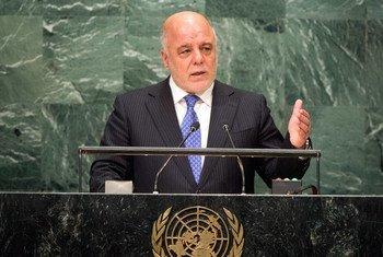 Le Premier ministre iraquien, Haider al-Abadi, devant l'Assemblée générale des Nations Unies. Photo ONU/Loey Felipe