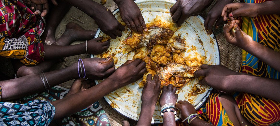 Children's hands hurry to the lunch cooked by Artou and Fatime: rice and fish. Village of Tagal, Lake Chad region, Chad. UNICEF/ Tremeau
