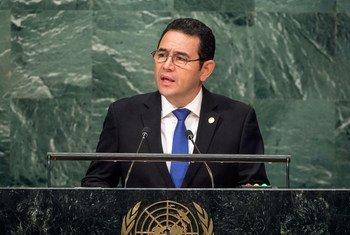 Jimmy Morales, presidente de Guatemala, en la Asamblea General de la ONU. Foto: ONU/Cia Pak