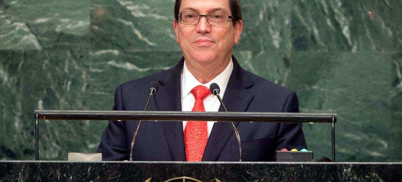 El ministro de Relaciones Exteriores de Cuba, Bruno Rodríguez Parrilla, habla ante la Asamblea General de la ONU. Foto de archivo: ONU/Cia Pak