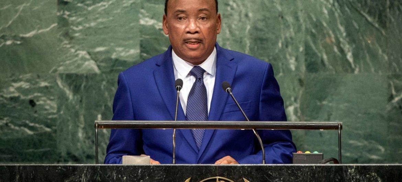 Le Président du Niger, Mahamadou Issoufou, devant l'Assemblée générale des Nations Unies. Photo ONU/Cia Pak