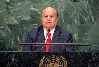 Le Président du Yémen, Abdrabuh Mansour Hadi Mansour, devant l'Assemblée générale des Nations Unies. Photo ONU/Cia Pak