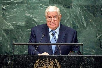 叙利亚副总理兼外长穆阿利姆(Walid Al-Moualem)在联大一般性辩论发言。联合国图片/Cia Pak