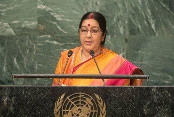 印度外长斯瓦拉吉在联大一般性辩论中发言。联合国图片/Cia Pak
