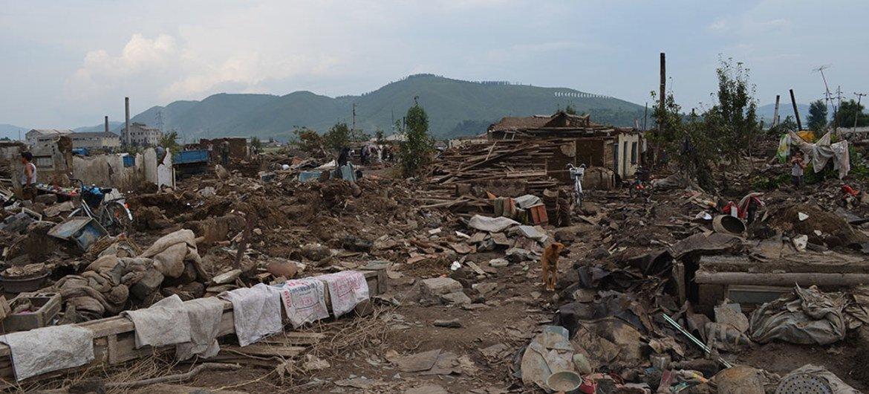 Destrozos causados por el tifón Lionrock en Corea del Norte. Foto: ONU/ Marina Throne-Holst