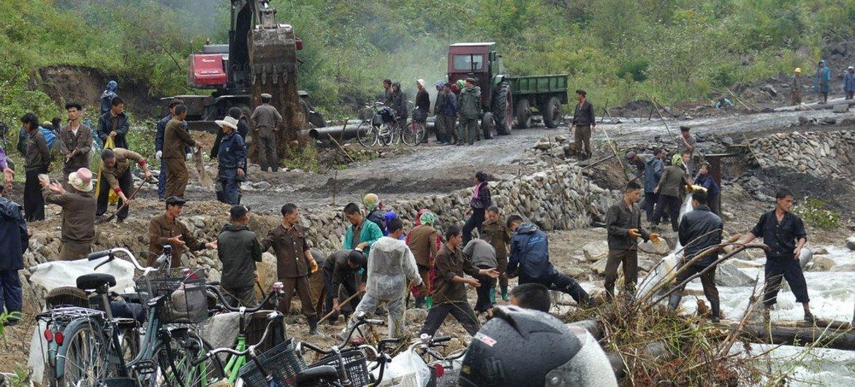 朝鲜洪灾导致严重破坏。联合国图片 / Marina Throne-Holst