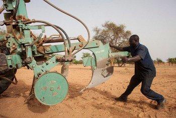 Un travailleur ajuste un attelage de tracteur à Djibo, au Burkina Faso. Des pièces de rechange doivent être disponibles pour les tracteurs.