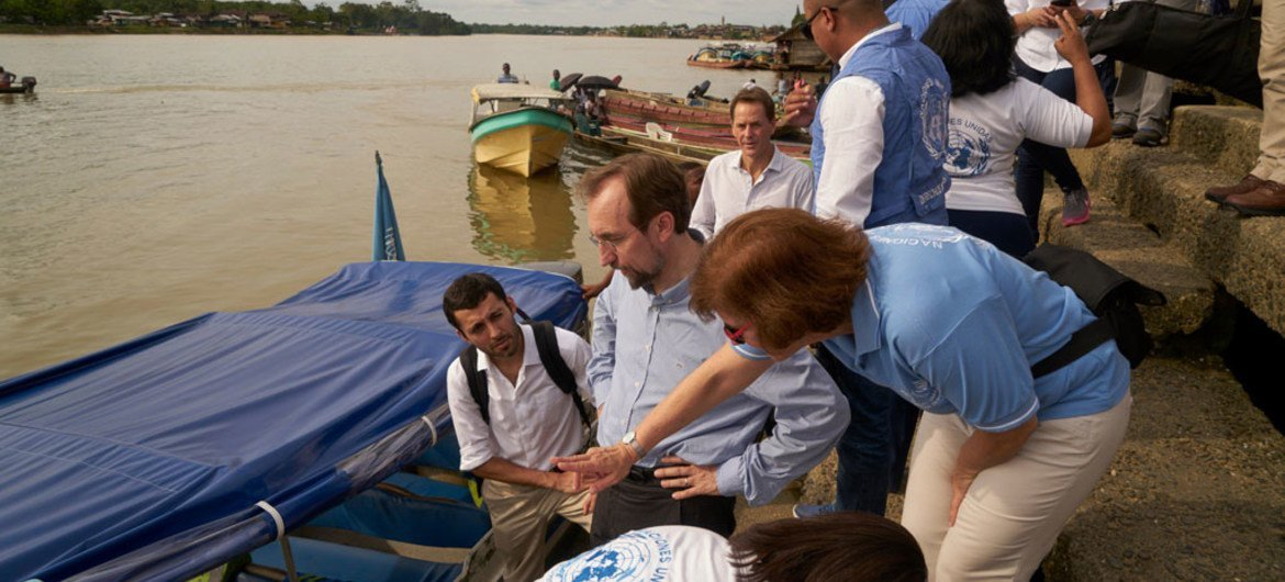 UN High Commissioner for Human Rights Zeid Ra'ad Al Hussein (foreground centre) during his visit to Colombia. September 2016.