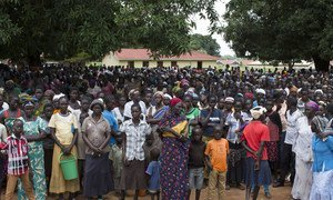 Thousands of internally displaced people gather at Emmanuel Church Compound in Yei, South Sudan.