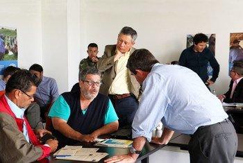 Observadores de la Misión de la ONU en Colombia, del Gobierno colombiano y de las FARC en una reunión de trabajo. Foto: Misión de la ONU en Colombia