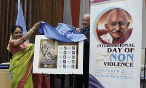 UN Postal Administration unveils the commemorative stamp of M.S. Subbulakshmi, Indian music legend on the 50th anniversary of her performance at the UN in 1966, during an event on the International Day of Non-Violence at the UN Headquarters on 2 October 2016.  The first copy is presented to musician Sudha Raghunathan (left).