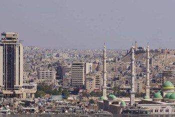 Vue aérienne de la ville d'Alep, en Syrie; Septembre 2016.