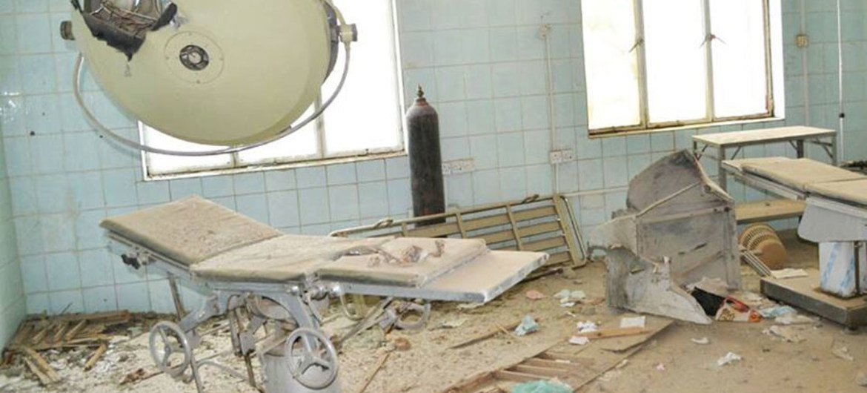 A severely damaged health facility in Taiz, Yemen.