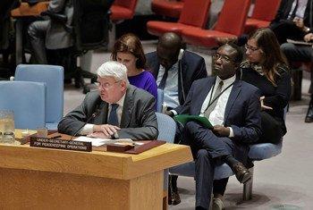 Le Secrétaire général adjoint aux opérations de maintien de la paix, Hervé Ladsous, briefe le Conseil de sécurité sur la situation au Darfour, Soudan. Photo ONU/Evan Schneider