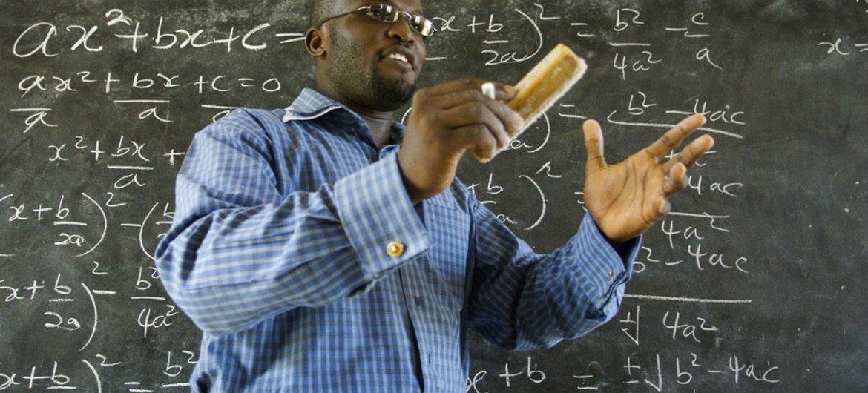 Winston Mills-Compton teaches a class in mathematics at the Mfantsipim Boys School in Cape Coast, Ghana.