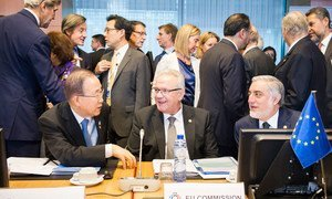 Secretary-General Ban Ki-moon (seated left), with the European Commissioner for International Cooperation and Development Neven Mimica (centre) and Chief Executive of Afghanistan Abdullah Abdullah at the Brussels Conference on Afghanistan.