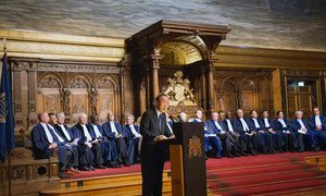 Secretary-General Ban Ki-moon speaks at the International Tribunal for the Law of the Sea's 20th Commemorative ceremony which took place in the Great Banquet Hall in Hamburg's City Hall.