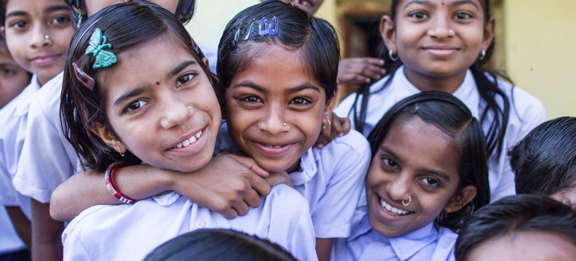 Girls take a break during their school day at Zilla Parishad Primary School in Chandrapur District, Nagpur, India.