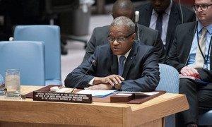 Le Représentant spécial du Secrétaire général en République démocratique du Congo (RDC), Maman Sidikou, devant le Conseil de sécurité en 2016 (archives). Photo ONU/Kim Haughton